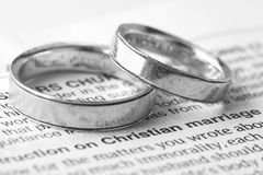Christian Marriage. Christians believe that marriage is considered in its ideal according to the purpose of God. At the heart of God's design for marriage is Royalty Free Stock Images