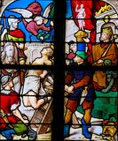 Christian Martyr - Stained Glass. Christian martyr on a stained glass window in Saint Catherines church in Honfleur, France royalty free stock photo