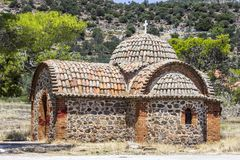 Christian masonry builded reminiscence building for priests in Lemonas at Lesvos royalty free stock photo