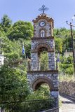 Christian masonry builded tower for priests in Agiasos at Lesvos. At summertime stock images