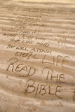 Christian messages. Written out on a beach Royalty Free Stock Images