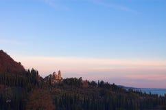 Christian monastery New Athos in Abkhazia. Panoramic Stock Photo