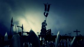 Christian Monk Holding Crusader Flag medan armémars som slåss vektor illustrationer