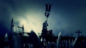 Christian Monk Holding Crusader Flag mientras que ejército marzo a la batalla ilustración del vector
