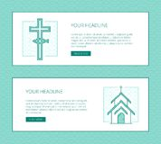 Christian monochrome banner with fish cross and church house. Religion  thin line banner template for modern church promo materials. Monochrome thin line Royalty Free Stock Photo