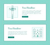 Christian monochrome banner with one lily cross and church house Stock Images