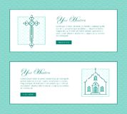 Christian monochrome banner with openwork cross and church house Royalty Free Stock Photos