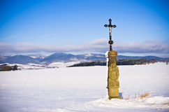 Christian monument in the hills, Czech Republic Royalty Free Stock Photos
