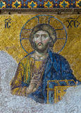 Christian mosaic icon of Jesus Christ. In Cathedral mosque Hagia Sofia 01, 2014 in Istanbul, Turkey. Hagia Sophia is the greatest monument of Byzantine Culture royalty free stock image