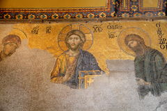 Christian mosaic of mosque Hagia. Richly christian mosaic of mosque Hagia Sofia in Istanbul,Turkey Stock Photography