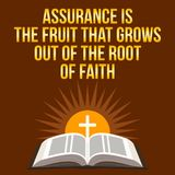 Christian motivational quote. Assurance is the fruit that grows. Out of the root of faith. Bible concept Stock Images