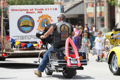 Christian Motorcycle Club in parade in small town America Stock Photos