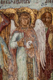 Christian Mural painting. Fragment of the Christian mural painting in Thikhvin monastery, Russia Stock Photo