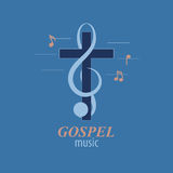 Christian music logo. Musical logo, which symbolizes Evangelical music. For music studios that reach out to Christian music Royalty Free Stock Images