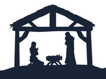 Christian Nativity Christmas Scene Silhouettes Royalty Free Stock Photos