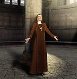 Christian Nun Praying to God. 3D render painting of a Christian nun praying to God inside a Church Stock Photos