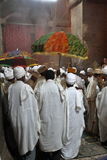 Christian Orthodox ceremony in the rock carving churches of Lalibela Stock Photo