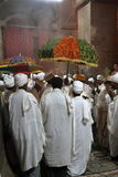 Christian Orthodox ceremony in the rock carving churches of Lalibela Stock Image