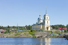 Christian orthodox church on the Lake Onega, Northern Russia Stock Image