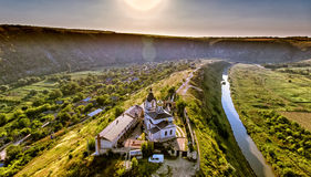 Christian Orthodox church in Old Orhei, Moldova. Aerial view. From a drone at sunset. Artistic HDR image Royalty Free Stock Photo
