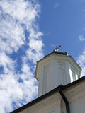 Christian Orthodox church spire. Detail of a Romanian Christian Orthodox church spire against a blue sky Royalty Free Stock Photos