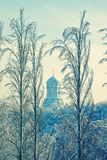 Christian Orthodox church in the winter landscape Stock Images