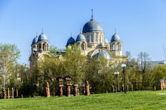 Christian orthodox monastery. Men's monastery in Russia, Verkhoturye Stock Photo