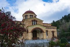 Christian orthodox monastery of the Virgin Mary in Malevi, Peloponnese, Greece. It is one of the most important monasteries in the Kynouria province stock photos