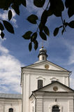 Christian orthodox white church with silver domes and gold crosses Stock Photos