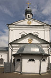 Christian orthodox white church with silver domes and gold crosses Stock Photo