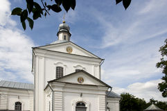 Christian orthodox white church with silver domes and gold crosses Royalty Free Stock Images
