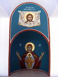 Christian paintings. Paintings on an old church in Alassa, Cyprus stock photo