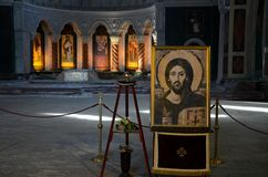 Christian paintings and portrait of Jesus Christ inside St Sava Church Belgrade Serbia. Belgrade, Serbia - March 21, 2015: The interior of the Serbian Orthodox Stock Photos