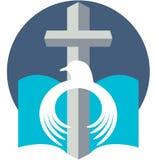 Christian peace dove with cross  logo Stock Photos