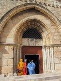 Christian Pilgrims Jerusalem royaltyfria bilder