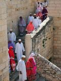 Christian Pilgrims Jerusalem royaltyfria foton