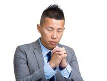 Christian pray for god. Isolated on white Stock Photos