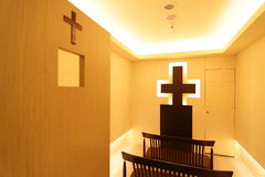 A christian prayer room. A prayer room could calm down the mood stock photo