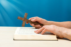 Christian praying with hands Stock Image