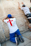 Christian Praying at Western Wall Royalty Free Stock Photos