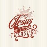 Christian print. Jesus is my treasure. vector illustration