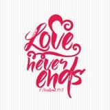 Christian print. Love never ends. Christian print. Love never ends royalty free illustration