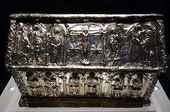 Christian Relic Silver Trunk Pictorial Design. A detail closeup image of an old antique trunk of Jesus Christ with other iconography and patterns engraved on it Stock Photography
