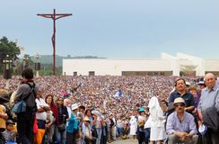 Christian Religion, Portugal Pilgrimage, Jesus Christ, Christian Faith, Devotee Crowd. Thousands of pilgrims and devotees at Fatima Sanctuary main square royalty free stock photos