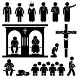 Christian Religion Tradition Church Stick Figure P. A set of people pictogram representing the people of Christian praying and practicing their tradition and Royalty Free Stock Photography