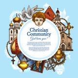 Christian religious community, vector symbols royalty free illustration