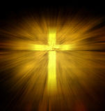 Christian religious cross. With yellow light ray stock photos