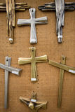 Christian religious crosses hanging on the canvas wal Stock Photo