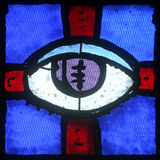 Christian religious symbol - all-seeing eye. Stained glass church window royalty free stock photo