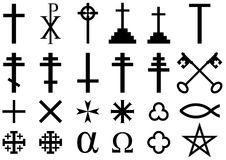 Christian religious symbols. A collection of  icons and symbols associated with the Christian faith isolated on white background Stock Photo